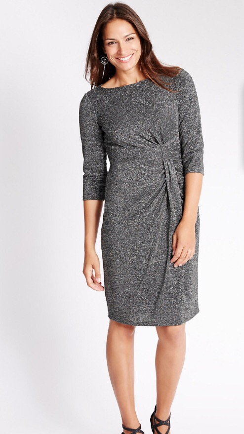 049759e6be7 The side scrunch effect of this dress easily hides any lumps and bumps.